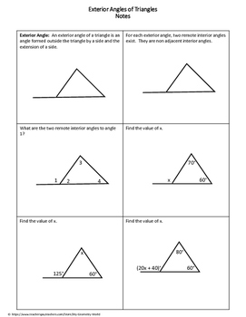 Geometry Worksheet: Exterior Angles of Triangles