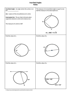 Geometry Worksheet: Inscribed Angles