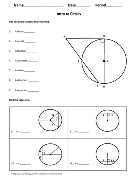 Geometry Worksheet: Intoduction to Circles