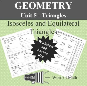 Geometry Worksheet - Isosceles Triangles and Equilateral Triangles