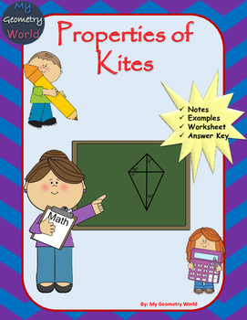 Geometry Worksheet: Kites by My Geometry World | TpT