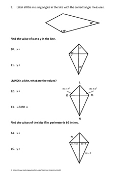 Geometry Worksheet: Kites