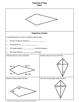 Geometry Worksheet Kites By My Geometry World Tpt