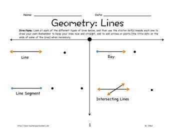 Geometry Worksheet: Lines 2nd-5th Grade