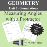 Geometry Worksheet - Measuring Angles with a Protractor
