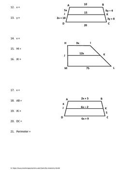Geometry Worksheet: Midsegments of Trapezoids