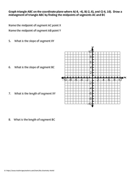 Geometry Worksheet: Midsegments on the Coordinate Plane