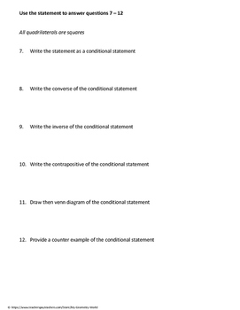 Geometry Worksheet: Mixed Practice - Logical Reasoning