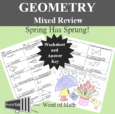 Geometry Worksheet - Mixed Review Spring Coloring Activity