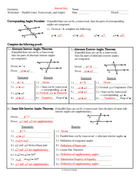 Geometry Worksheet - Parallel Lines, Transversals, and Angles