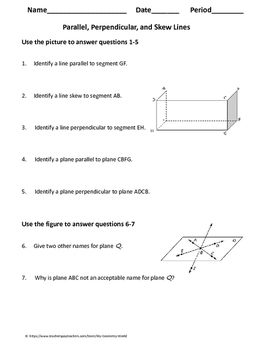 geometry worksheet parallel perpendicular and skew lines tpt. Black Bedroom Furniture Sets. Home Design Ideas