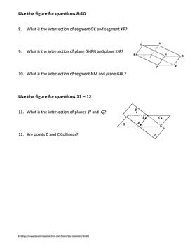 Geometry Worksheet: Parallel, Perpendicular, and Skew Lines | TpT