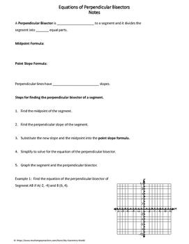 Geometry Worksheet: Pependicular Bisectors