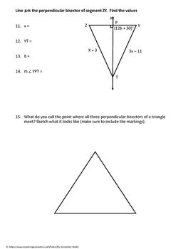 Geometry Worksheet: Perpendicular Bisectors