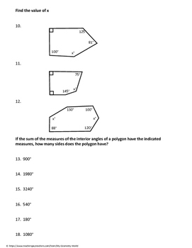 Geometry Worksheet: Polygons and Interior Angle Sums