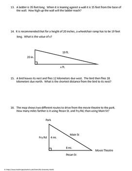 Geometry Worksheet: Pythagorean Theorem