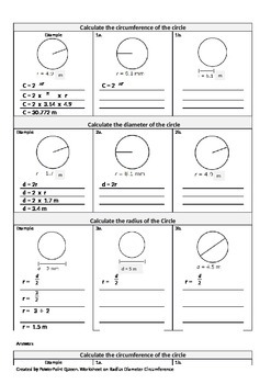 Geometry Worksheet Radius, Diameter & Circumference