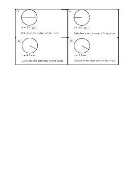 Geometry Worksheet Radius & Diameter Problems with Answers