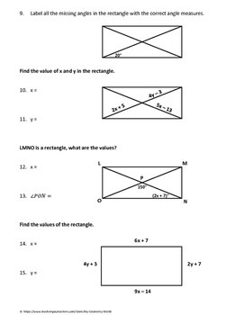 Geometry Worksheet: Rectangles