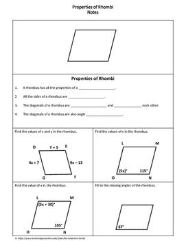 Geometry Worksheet: Rhombi