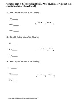 Geometry Worksheet: Segment Addition