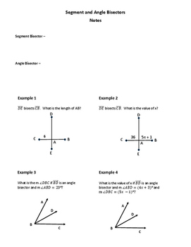 Geometry Worksheet: Segment and Angle Bisectors