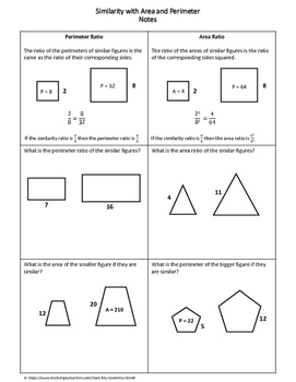 Geometry Worksheet: Similarity with Area and Perimeter