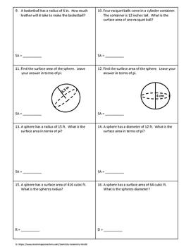 Geometry Worksheet: Surface Area of Spheres