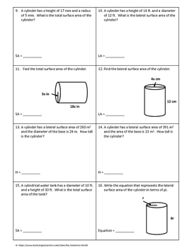 Geometry Worksheet: Surface Area of Cylinders