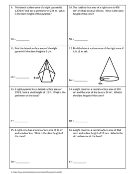 Geometry Worksheet: Surface Area of Pyramids and Cones