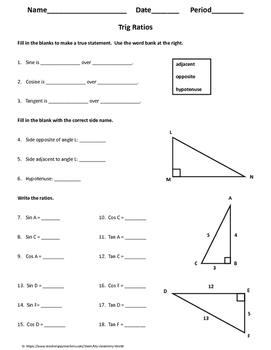 Geometry Worksheet: Trig Ratios