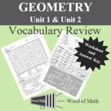 Geometry Worksheet - Basic Vocabulary Review