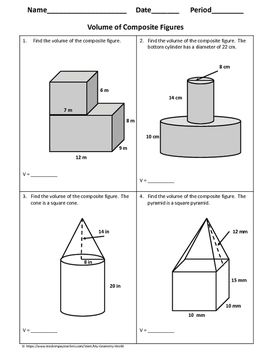 geometry worksheet volume of composite figures by my geometry world. Black Bedroom Furniture Sets. Home Design Ideas