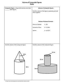 geometry worksheet volume of composite figures by my geometry world. Black Bedroom Furniture Sets. Home Design Ideas