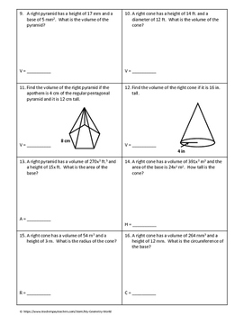 Geometry Worksheet: Volume of Cones and Pyramids