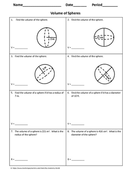 Geometry Worksheet: Volume of Spheres
