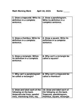 Geometry Worksheet polygons & quadrilaterals