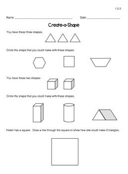 Geometry Worksheets (1st Grade Shape Standards)