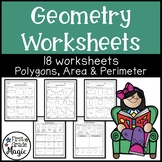 Polygons, Quadrilaterals, Area, and Perimeter Geometry Worksheets