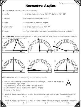 Geometry Worksheets (4th grade)