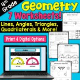 Geometry Worksheets for 4th grade