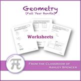 Geometry Worksheets - Full Year Bundle