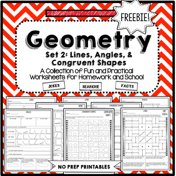 Geometry Lines, Angles and Congruent Shapes Worksheets FREE!