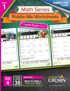4th Grade Math Worksheets – Fourth Grade Math Pack 1 - Math Riddles - CCSS