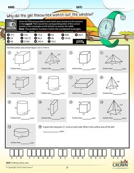 Geometry Worksheets Pack 2 - Perimeter, Area, Volume - Math Riddles - 5th–8th