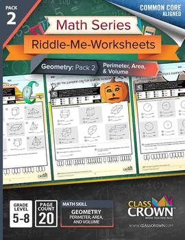 Geometry Worksheets Pack 2 - Perimeter, Area, and Volume -