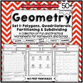 Geometry Worksheets Polygons, Quadrilaterals, Partitioning
