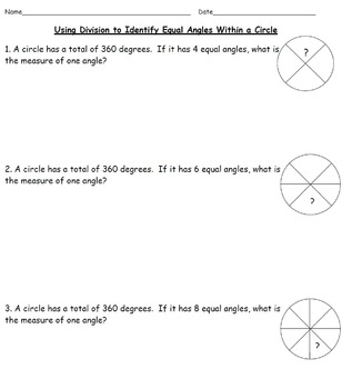Identifying Measurements of Missing Angles (Worksheets & Vocabulary Chart)