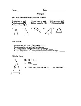 Geometry Worksheets for the Middle School by Gina ...