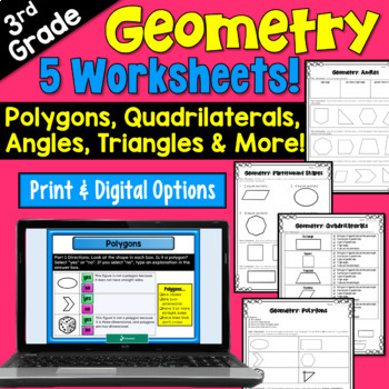 Geometry Worksheets for third grade